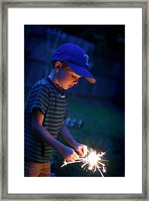 Fourth With A Sparkler Framed Print
