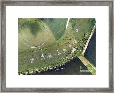 Fovant Badges, Aerial Photograph Framed Print by Getmapping Plc