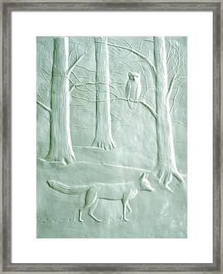 Fox And Owl In The Winter Woods Framed Print by Deborah Dendler