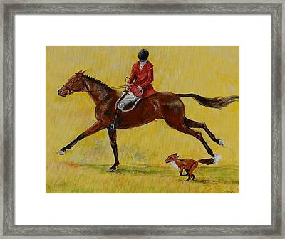 Fox Chasing Framed Print by Ron Cox