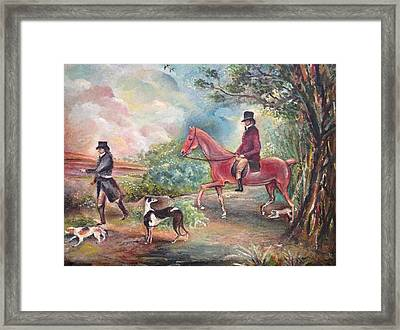 Framed Print featuring the painting Fox Hunting by Egidio Graziani