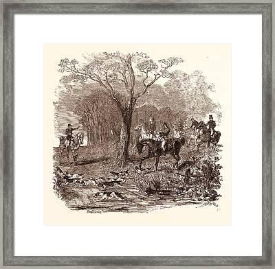 Fox Hunting In November, Shotgun, Hunting, Wild, Hunter Framed Print by English School