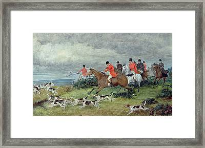 Fox Hunting In Surrey Framed Print by Randolph