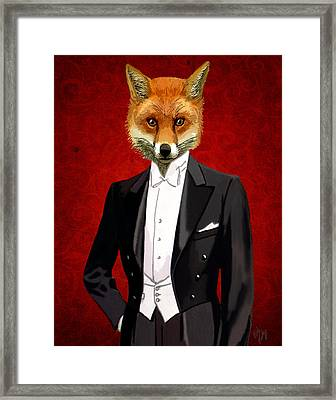 Fox In A Evening Suit Framed Print by Kelly McLaughlan