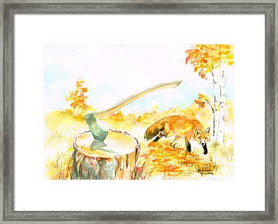 Framed Print featuring the painting Fox In Autumn by Andrew Gillette