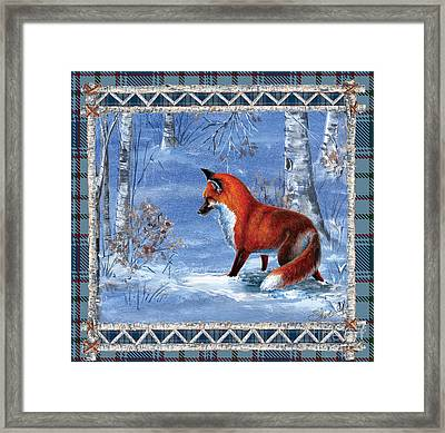 Fox In The Birch Woods Framed Print