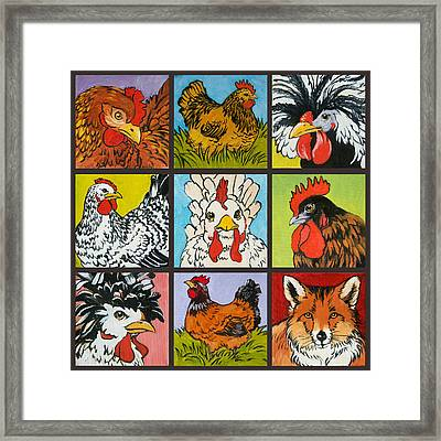 Fox In The Henhouse Square Framed Print by Tracie Thompson