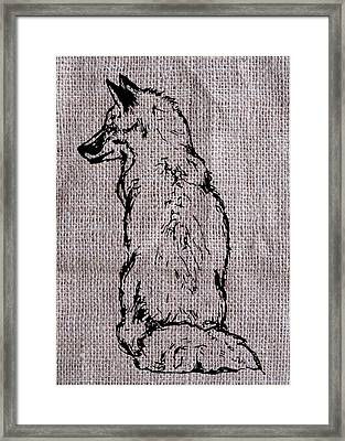 Fox On Burlap  Framed Print