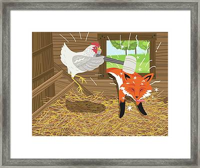 Fox Passed Out After Being Hit With A Framed Print by Diane Labombarbe
