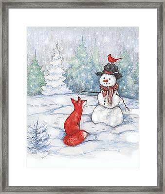 Fox Snowman And Cardinal Framed Print by Peggy Wilson