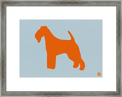 Fox Terrier Orange Framed Print by Naxart Studio