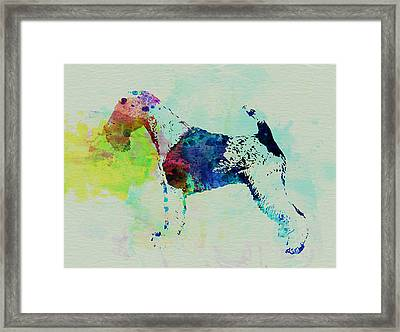 Fox Terrier Watercolor Framed Print by Naxart Studio