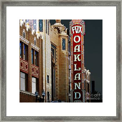 Fox Theater In Oakland California Square Framed Print by Wingsdomain Art and Photography