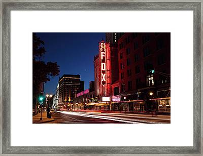 Fox Theater Twilight Framed Print