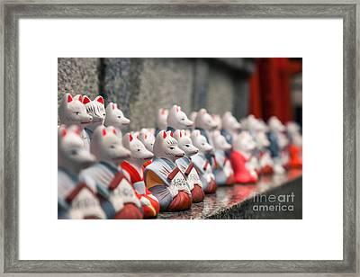 Foxes At Fushimi Inari Shrine Kyoto Japan Framed Print