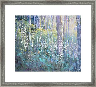 Foxgloves In The Woods Framed Print by Jackie Simmonds