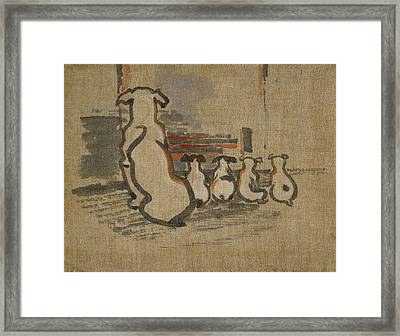 Foxhound And Puppies Framed Print