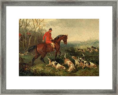 Foxhunting At Cover Signed And Dated In Brown Paint Framed Print