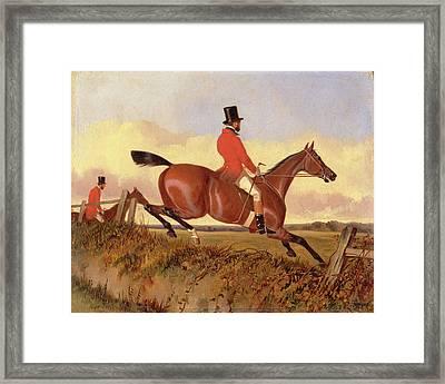 Foxhunting Clearing A Bank, John Dalby, Active 1826-1853 Framed Print