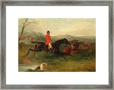Foxhunting Clearing A Brook Signed And Dated In Red Paint Framed Print