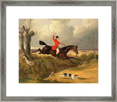 Foxhunting Clearing A Ditch Signed And Dated Framed Print