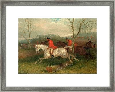 Foxhunting Coming To A Fence Full Cry Signed And Dated Framed Print