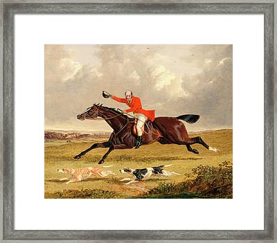 Foxhunting Encouraging Hounds Capping Hounds And Full Cry Framed Print