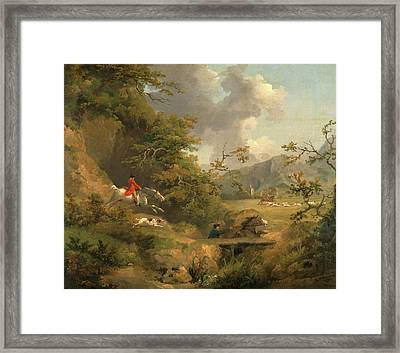 Foxhunting In Hilly Country Signed And Dated Framed Print