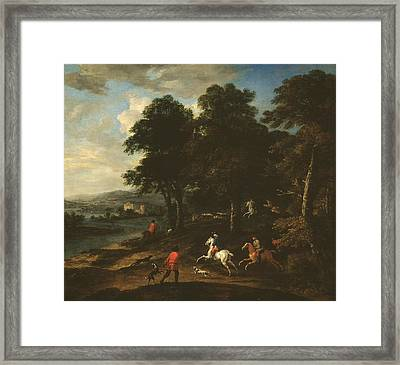 Foxhunting In Wooded Country  Framed Print