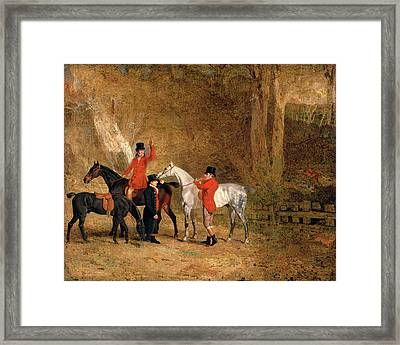 Foxhunting Scene Fox Hunting Two Gentlemen With A Groom Framed Print