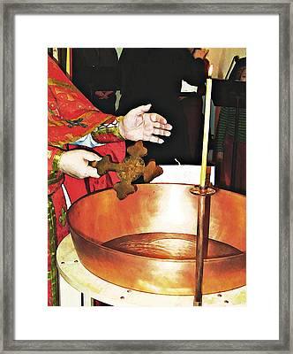 Fr Yakov Blesses Water Framed Print by Sarah Loft