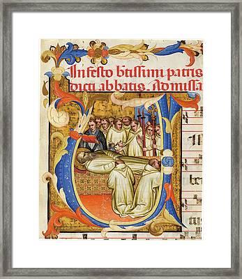 Fra Gregorio Mutii Da Montalcino, Death Of Saint Benedict Framed Print by Litz Collection
