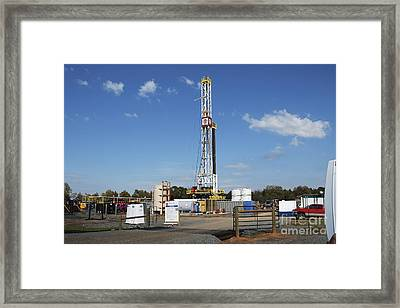 Fracking Drill Rig Framed Print