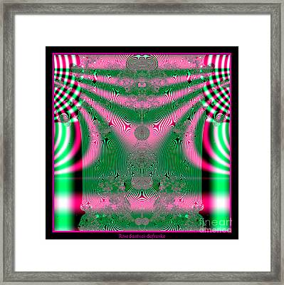 Fractal 34 Kimono In Pink And Green Framed Print by Rose Santuci-Sofranko