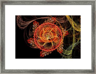 Fractal - Abstract - Mardi Gras Molecule Framed Print by Mike Savad