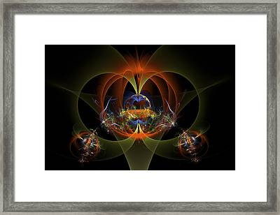 Fractal Art - Psychedelic Abstract Image - Digital Art - Red Yellow Black  Framed Print by Keith Webber Jr
