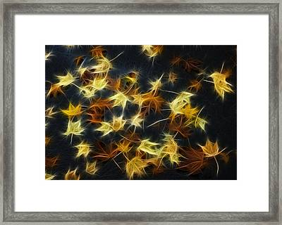 Fractal Autumn Leaves Yellow Orange And Brown Framed Print