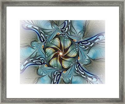 Fractal Composition In Art Deco Style Framed Print by Karin Kuhlmann