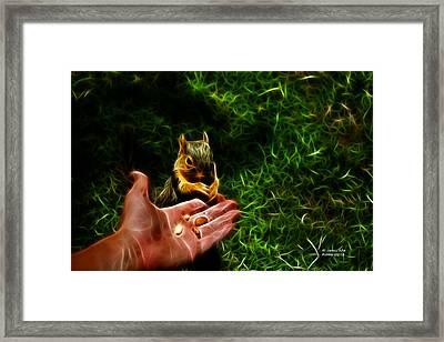 Framed Print featuring the digital art Fractal - Feeding My Friend - Robbie The Squirrel by James Ahn