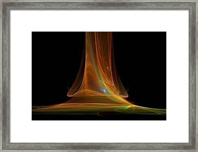 Fractal Flame Art Abstract Light Beam Black And Orange Framed Print by Keith Webber Jr