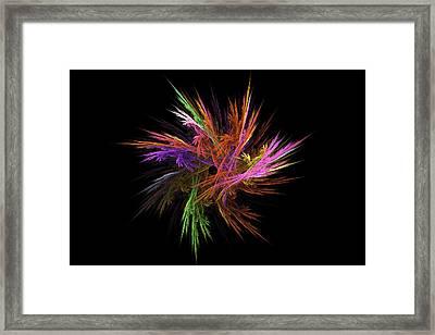 Fractal Flame - Digital Flower Image - Modern Art Framed Print
