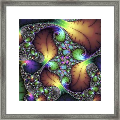 Fractal Floral Art With Decorative Colors Square Format Framed Print
