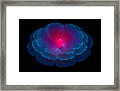Fractal Flower Blue And Red Framed Print