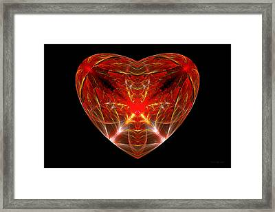 Fractal - Heart - Open Heart Framed Print by Mike Savad