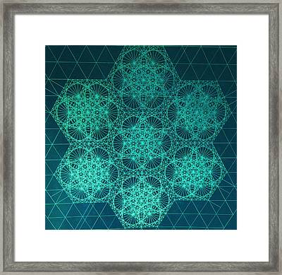 Framed Print featuring the drawing Fractal Interference by Jason Padgett