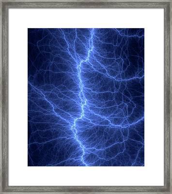 Fractal Lightning Discharge Framed Print