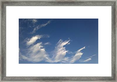 Framed Print featuring the digital art Fractal-like Clouds by Lea Wiggins