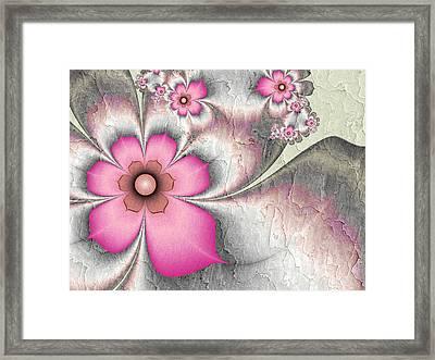 Fractal Nostalgic Flowers 2 Framed Print