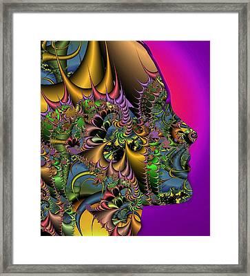 Fractal Pattern And Human Face Framed Print