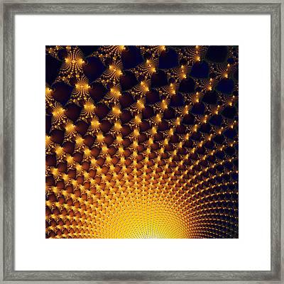 Fractal Yellow Golden And Black Firework Framed Print by Matthias Hauser